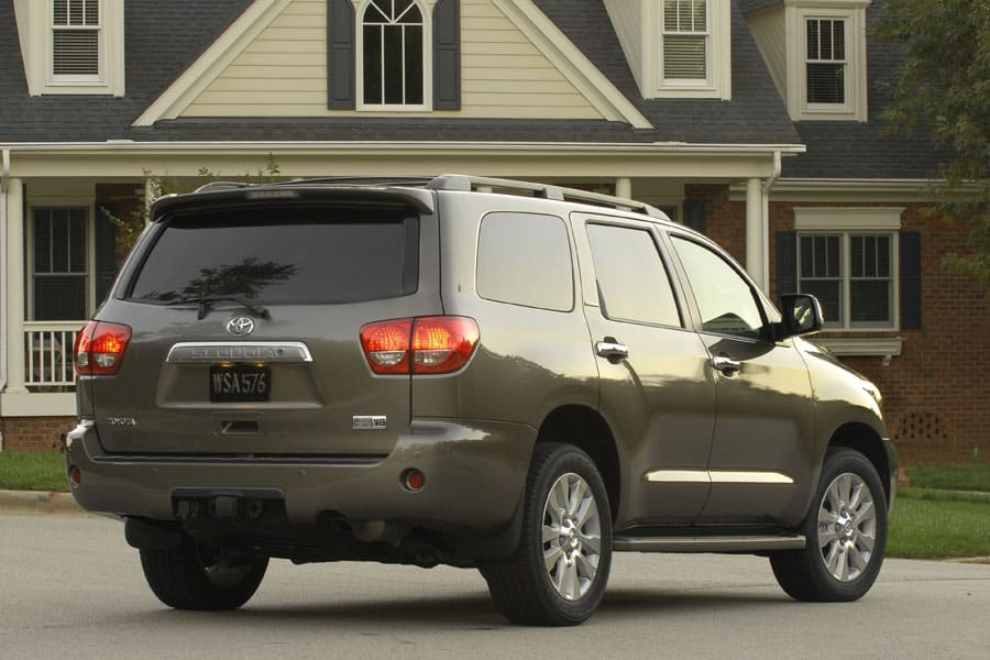 Back three quarter view of the 2008 Toyota Sequoia SUV