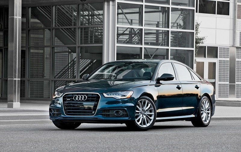 Front three quarter view of blue Audi A6