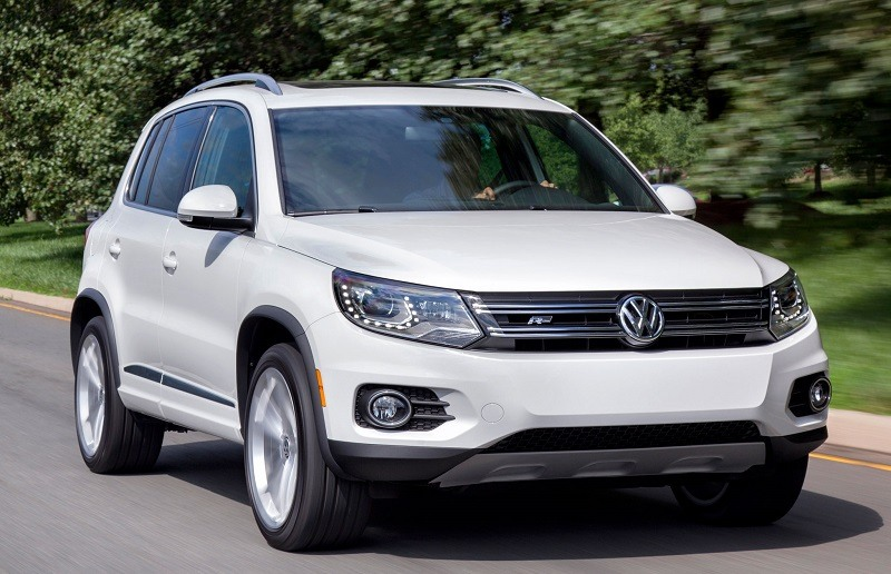 View of white Volkswagen Tiguan SUV