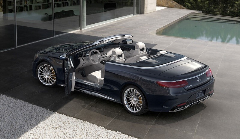 View of Mercedes S-Class Cabriolet from three-quarter back angle