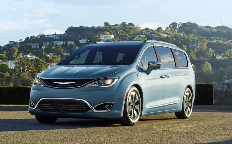 Blue Chrysler Pacifica Hybrid minivan