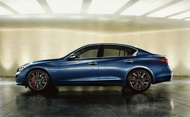 Profile Of Blue Infiniti Q50 Red Sport Sedan In Blue