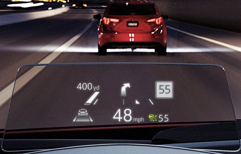 View of Mazda active display for '17 model year