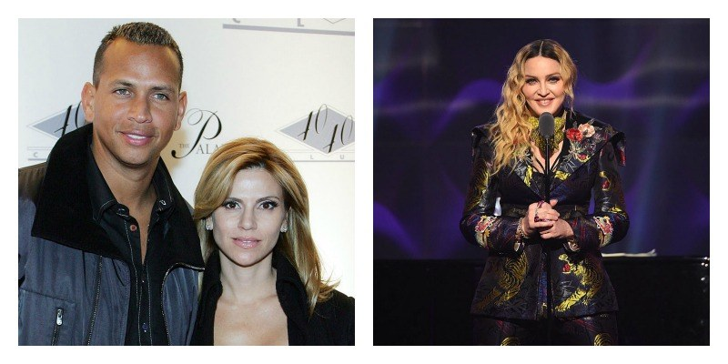 On the left is Alex Rodriguez and Cynthia Scurtis posing together on the red carpet. On the right is Madonna on stage.
