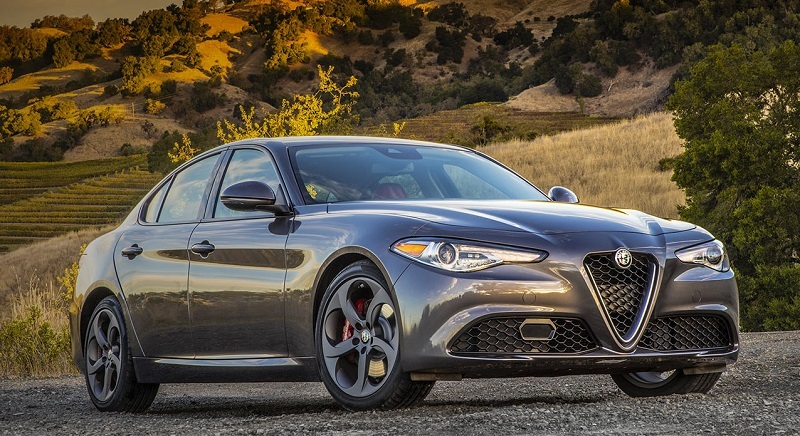 View of 2017 Alfa Giulia with country setting behind