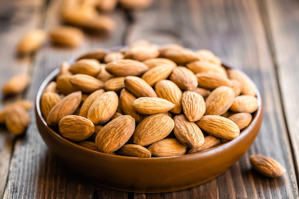 Whole almonds in a bowl