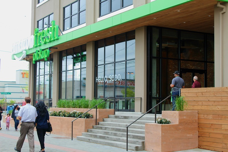 The Amazon Fresh pickup storefront in Seattle's Sodo neighborhood