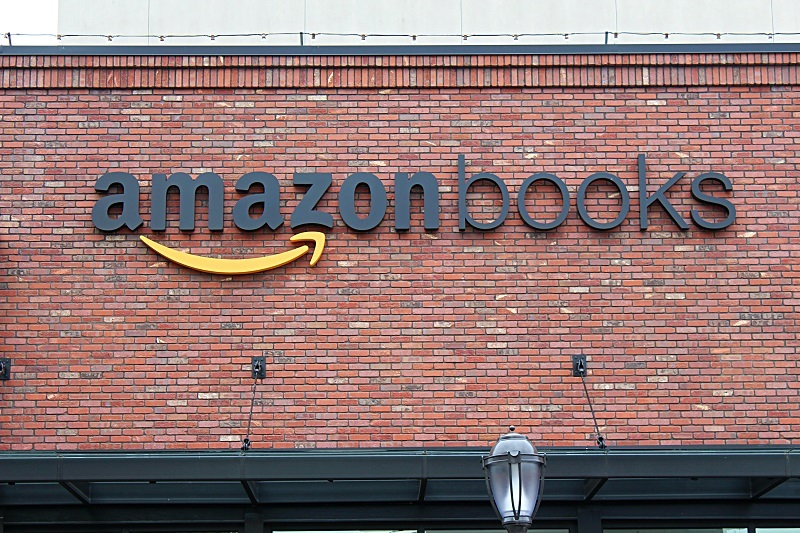 The Amazon Books logo on the front of the store in Seattle's U-Village