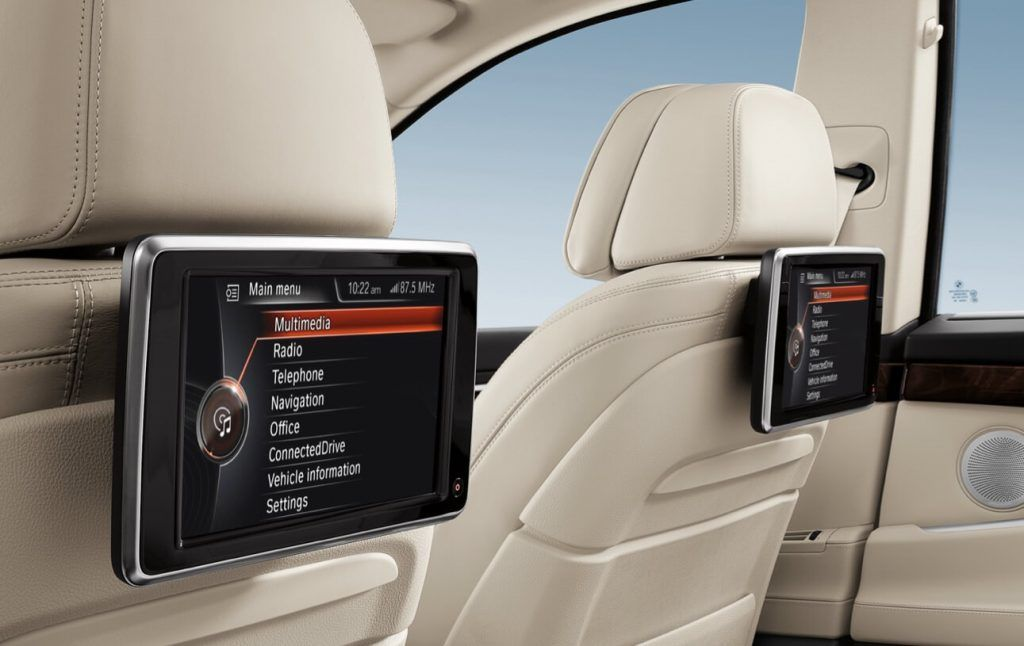 Rear seat entertainment in the BMW 5 Series for 2017 model year.