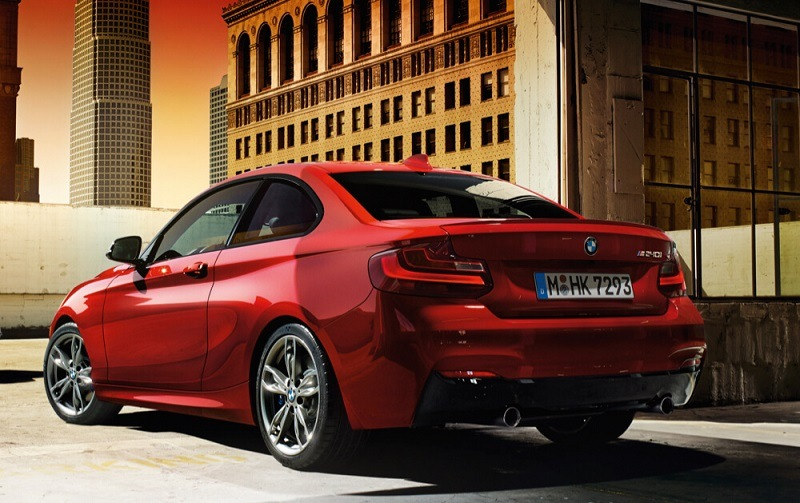 Rear view of red BMW M240i