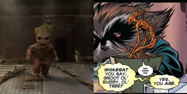 Baby Groot in GOTG Vol. 2 and comic image of Baby Groot in the comics