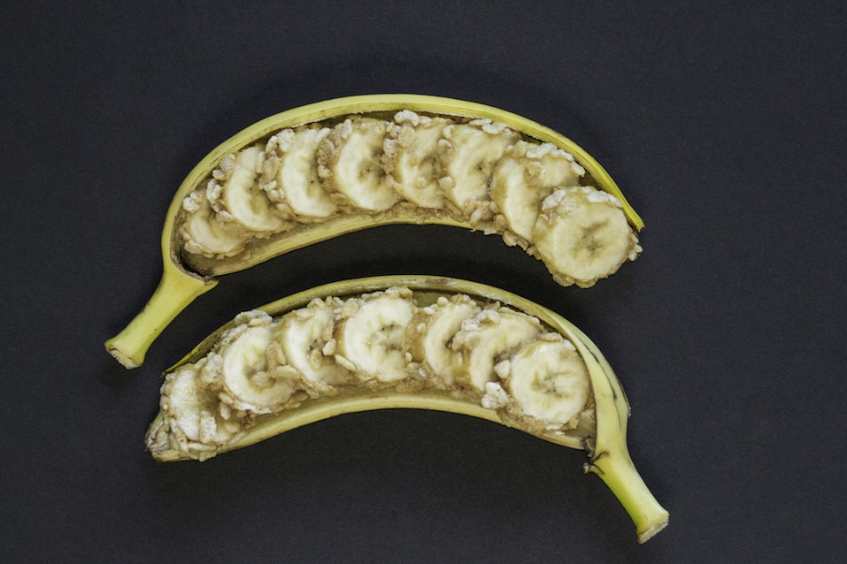 Sliced banana with peanut butter and oats