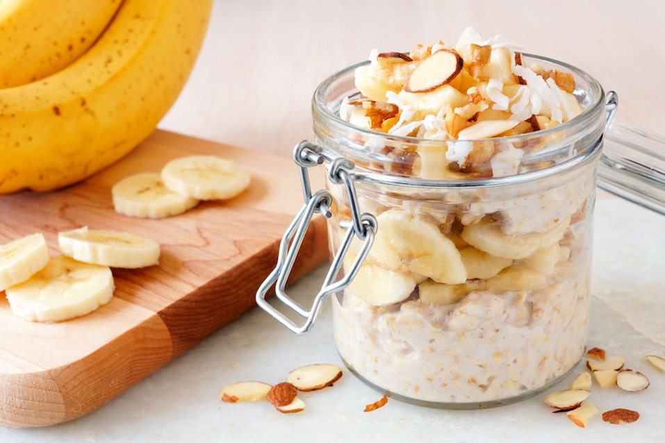 Banana nut overnight oats on white marble