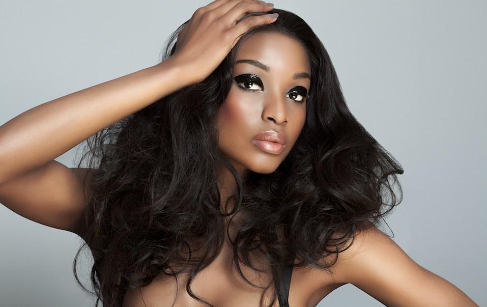 dark-skinned model posing