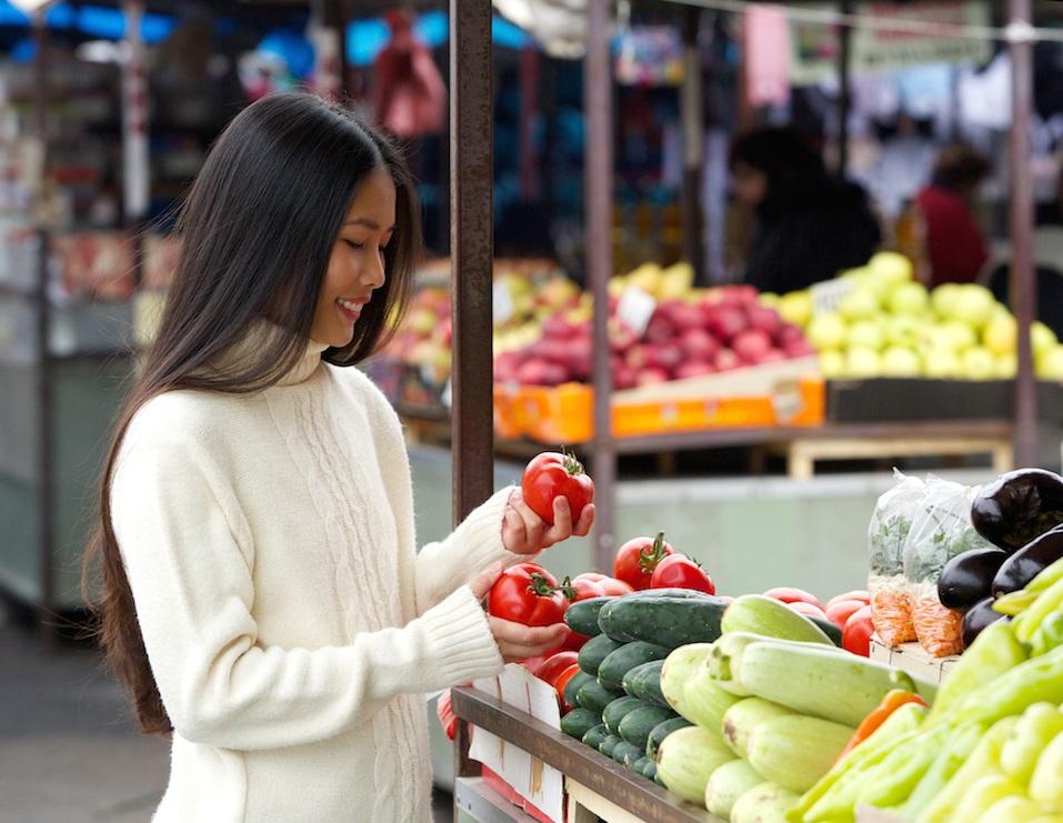 woman picking produce