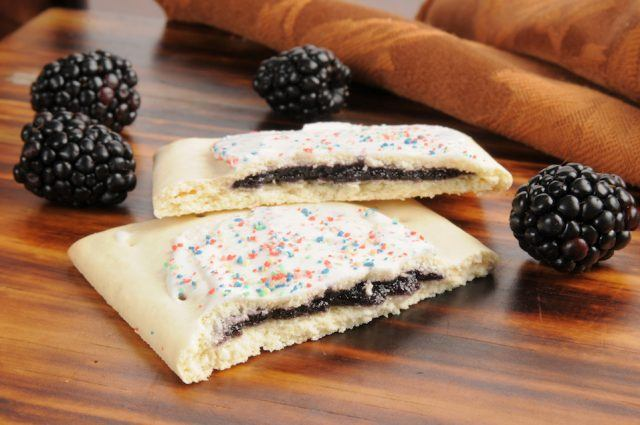 Blackberry filled toaster pastries with frosting