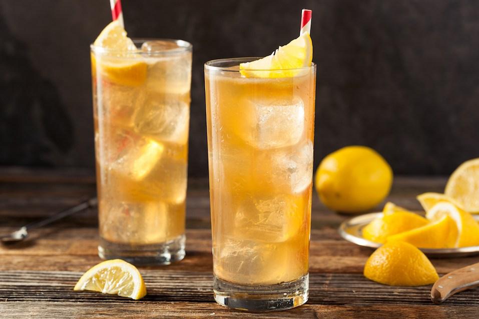Boozy Long Island Iced Tea with a Lemon Garnish