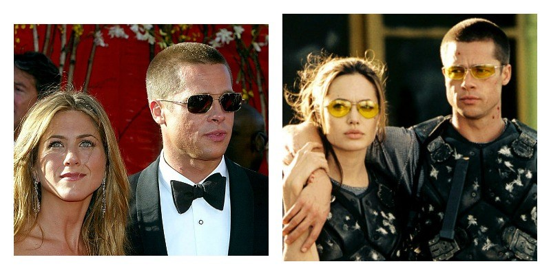 On the left is Jennifer Aniston and Brad Pitt on the red carpet. On the right is Brad Pitt and Angelina Jolie in bullet proof gear.