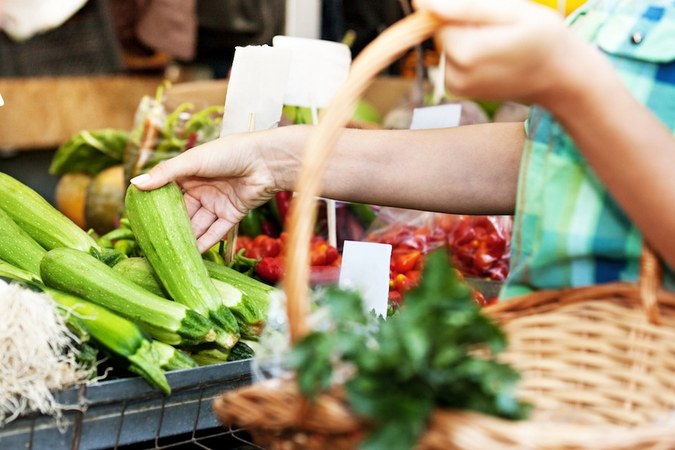 buying vegetables at farmers market