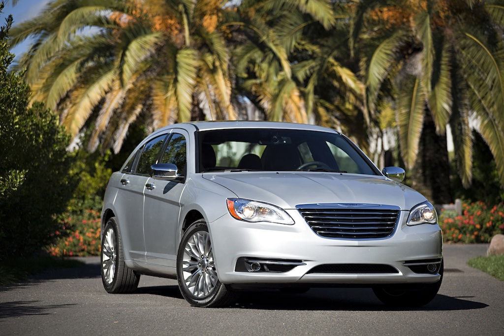 View of silver Chrysler 200 sedan in last year prior to redesign