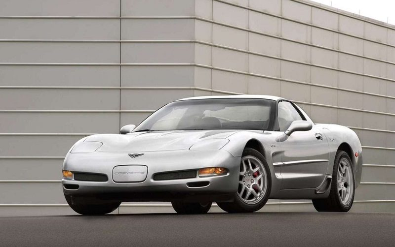 View of silver Corvette Z06 from 2001 model year