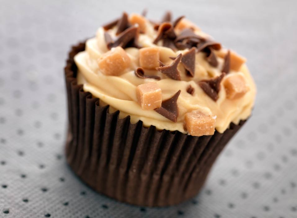 Caramel and toffee cupcake