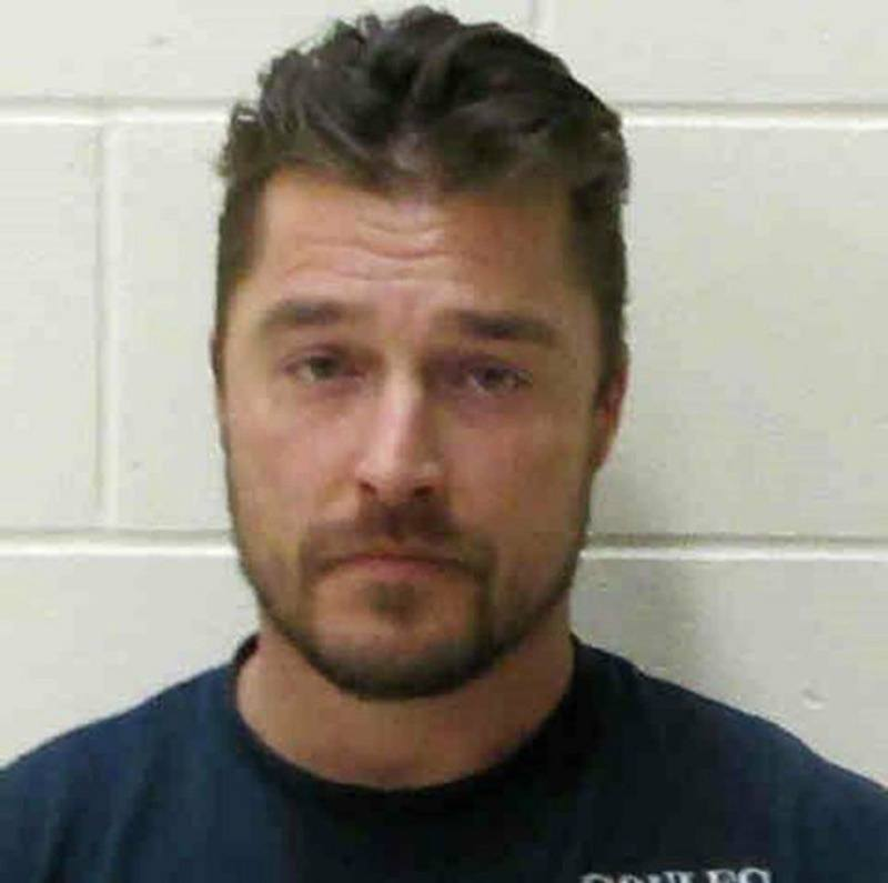 Chris Soules' mug shot, where he is looking at the camera in a navy blue shirt