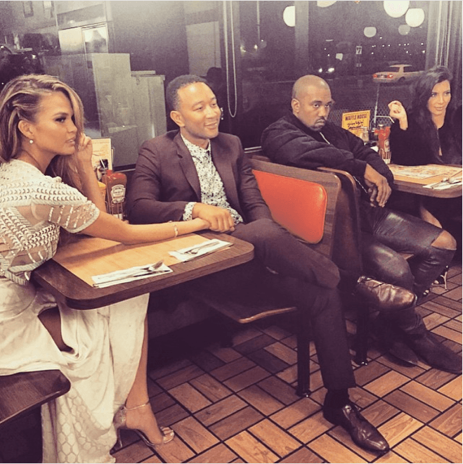Chrissy Teigen, John Legend, Kanye West, and Kim Kardashian at a fast food joint