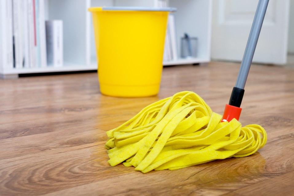 Cleaning tools on wood floor