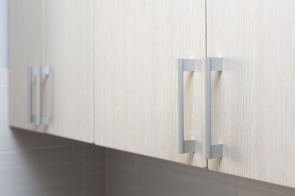 Close Up door handles in kitchen