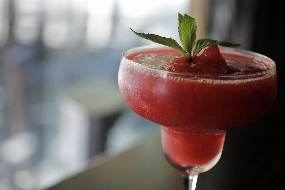 Frozen Strawberry Daiquiri with shallow focus
