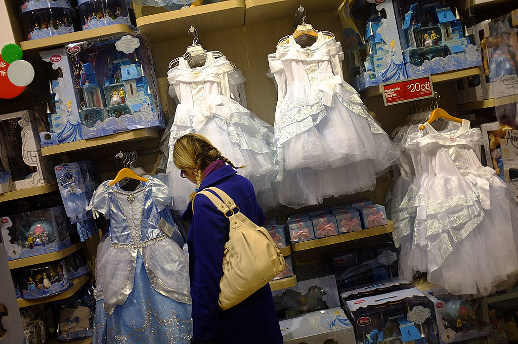 Children's clothes are displayed at the Disney Store
