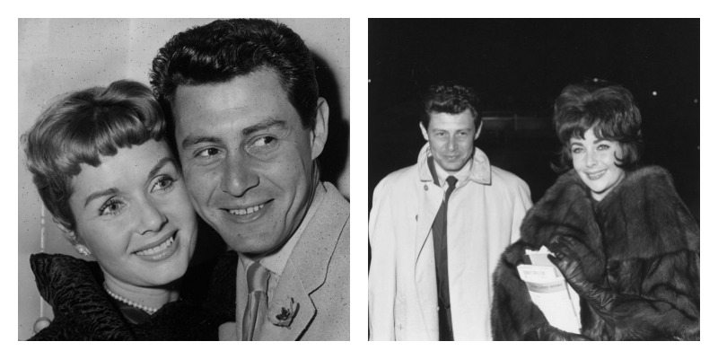 On the left is a black and white photo of Eddie Fisher and Debbie Reynolds cheek to cheek. On the right is Eddie Fisher and Elizabeth Taylor arm in arm.