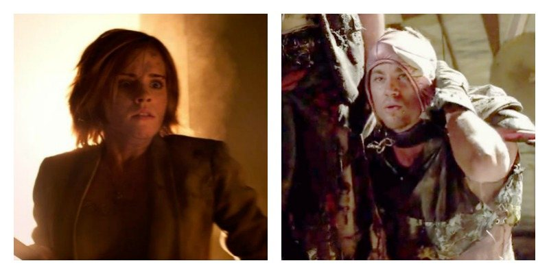 On the right is a picture of Emma Watson holding a shovel and looking scared. On the right is Channing Tatum on the ground and lifting a mask from his face.