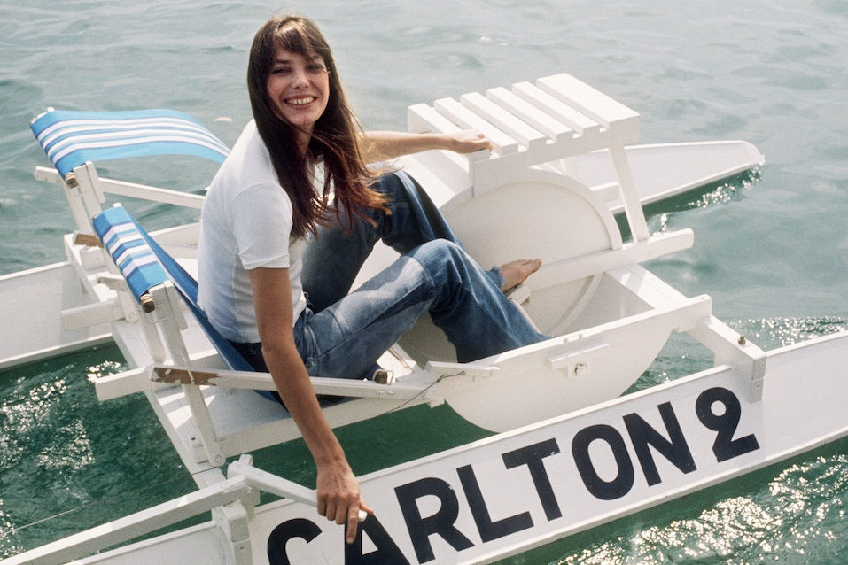 English actress Jane Birkin goes out on the water
