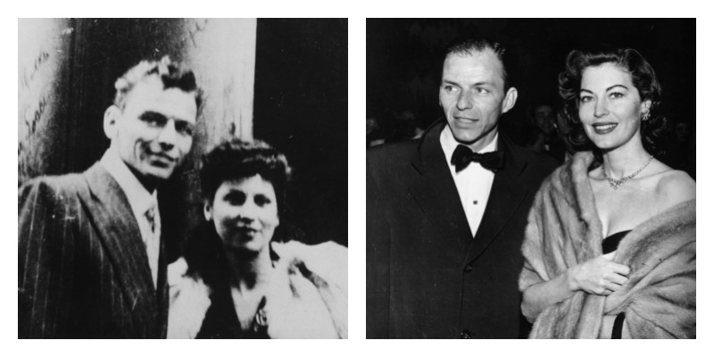 On the left is a black and white picture of Frank and Nancy Sinatra. On the right is a black and white picture of Frank Sinatra and Ava Gardner.
