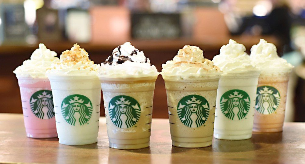 a line of frappuccinos