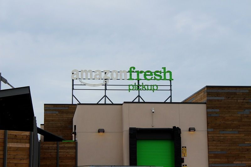The Amazon Fresh sign over the Ballard pickup location