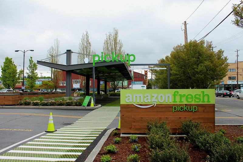 The drive-up Amazon Fresh pickup area, near the storefront in Sodo