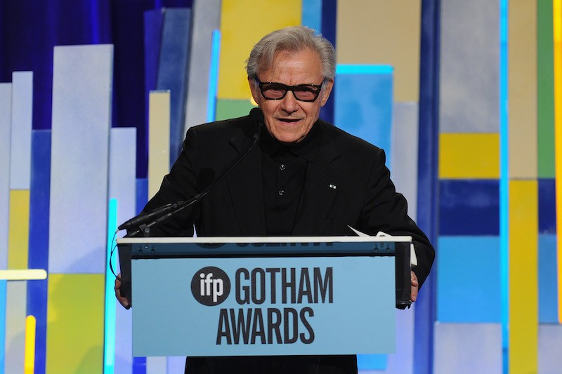 Harvey Keitel speaks onstage at the 25th IFP Gotham Independent Film Awards