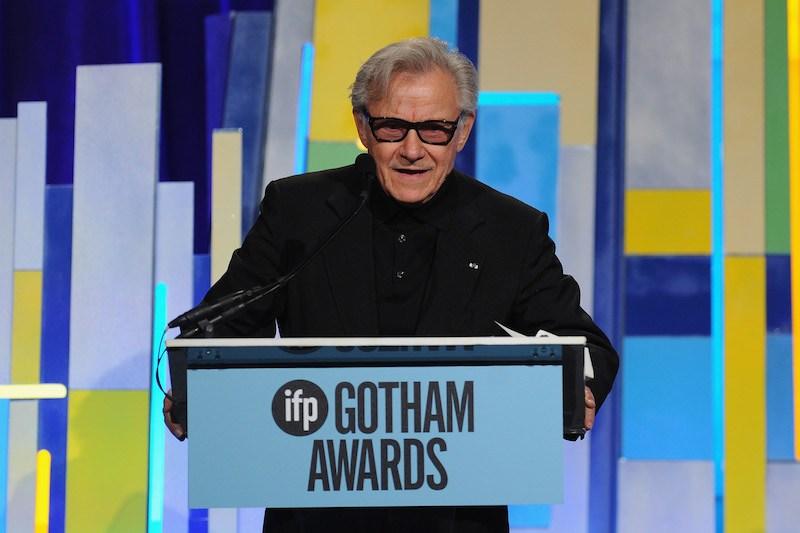 Harvey Keitel speaks onstage at the 25th IFP Gotham Independent Film Awards