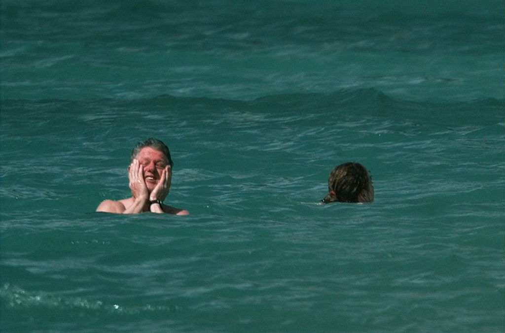 Bill Clinton and daughter Chelsea take a swim