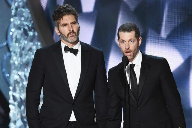 David Benioff and D.B. Weiss on stage accepting an Emmy Award.