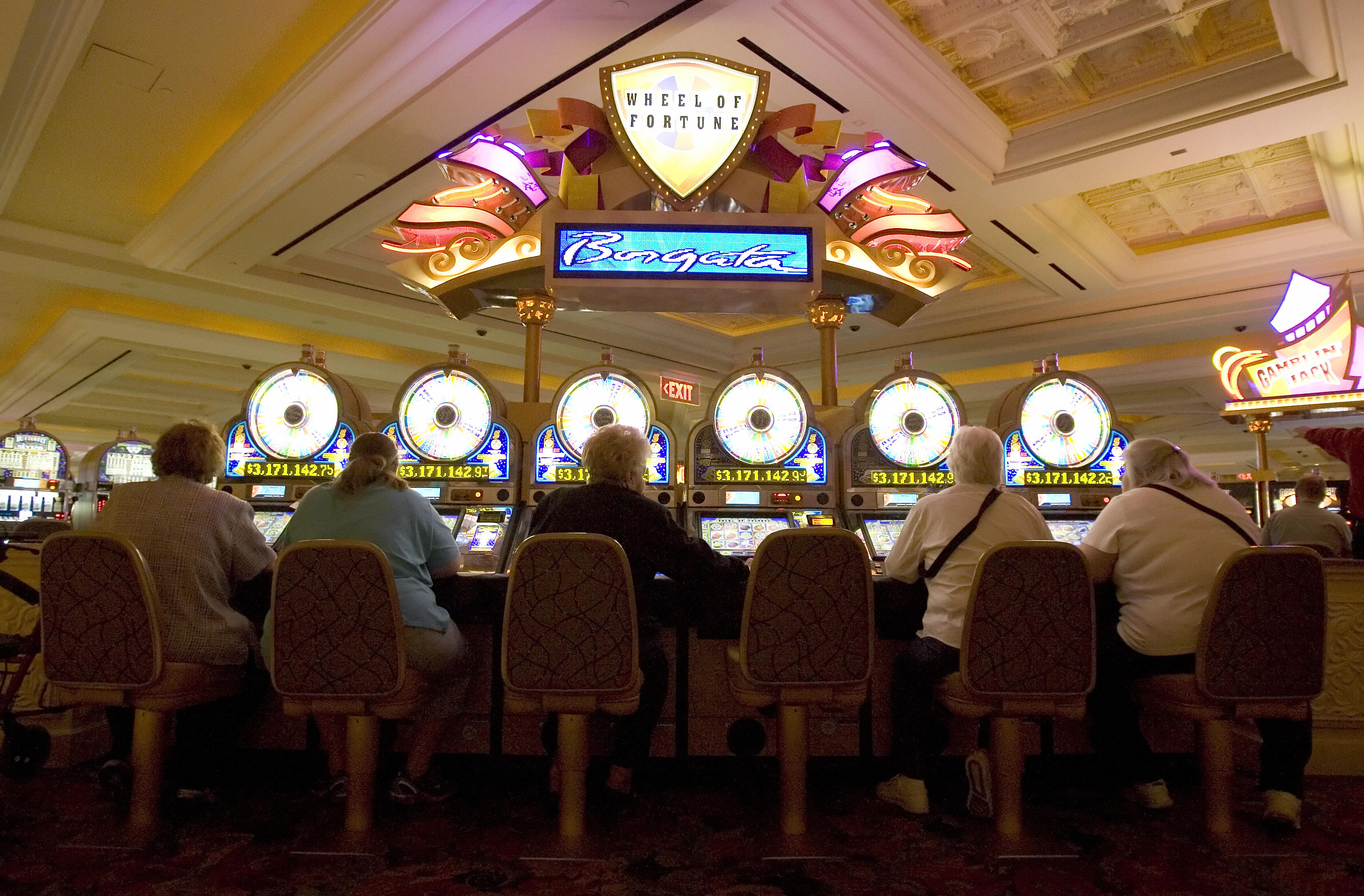Women play slot machines at the Borgata Hotel Casino and Spa in Atlantic City, New Jersey