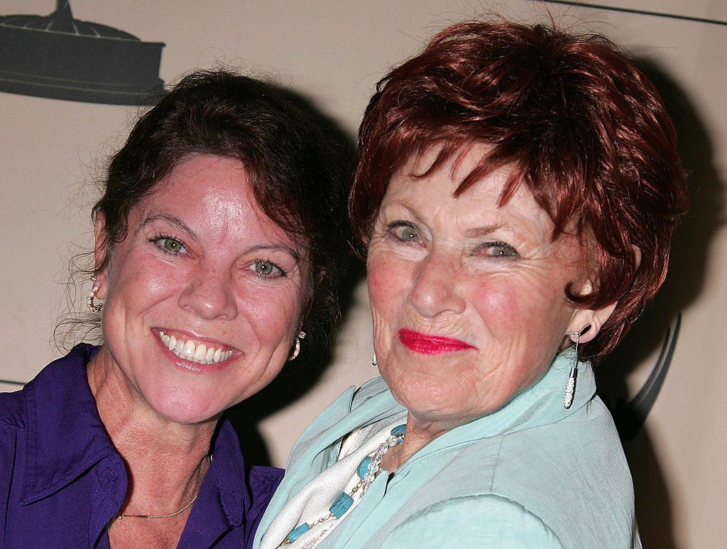 Erin Moran and Marion Ross smile and pose together