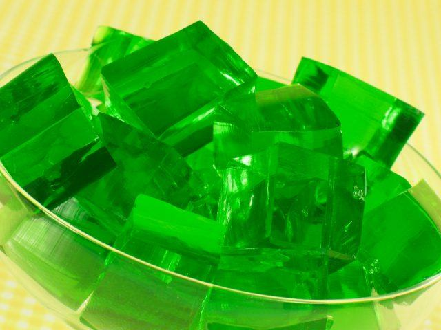 Green Gelatin with a yellow background