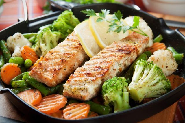 grilled salmon over grilled veggies