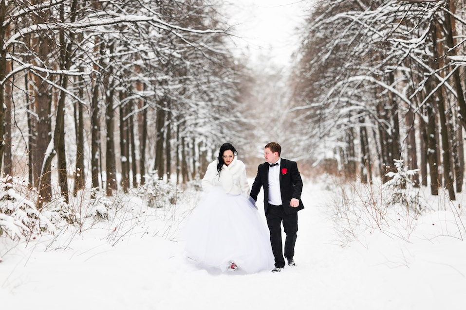 Happy bride and groom in winter wedding day.