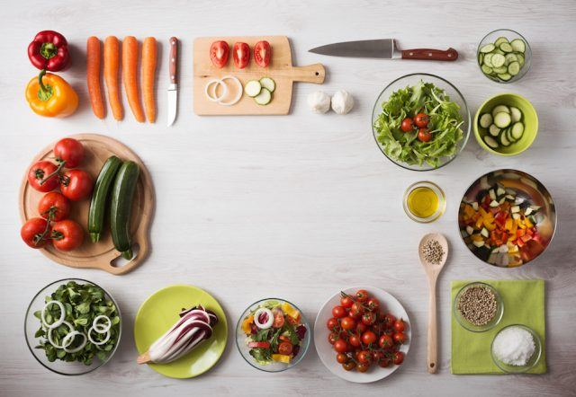 Healthy eating and food preparation at home.