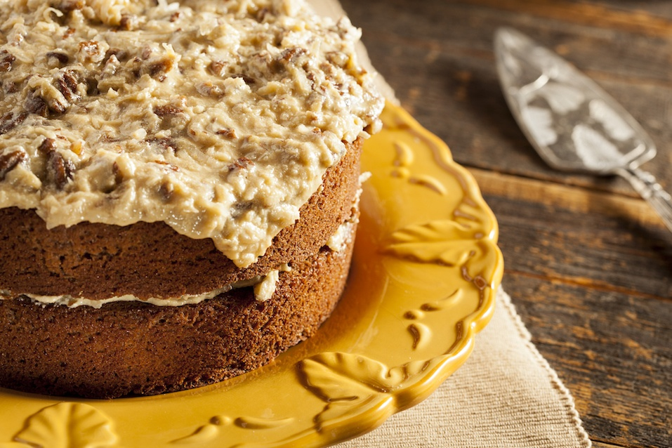 Homemade Gourmet German Chocolate Cake with almonds and coconut